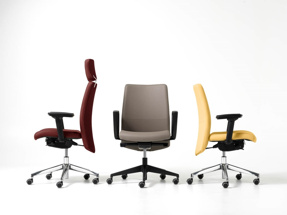 Duke, Directional office chair with wheels, headrests, armrests