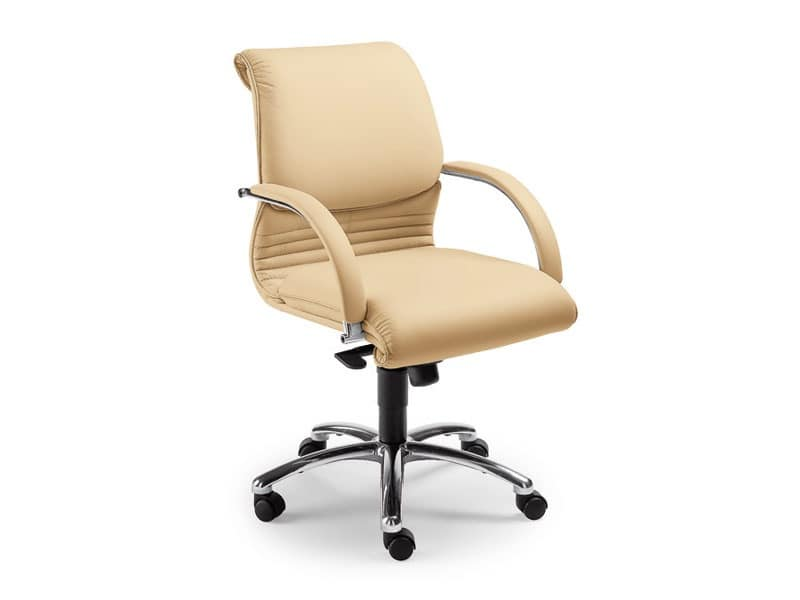 Elegance executive 2856, Leather chair on castors for offices, gas lift
