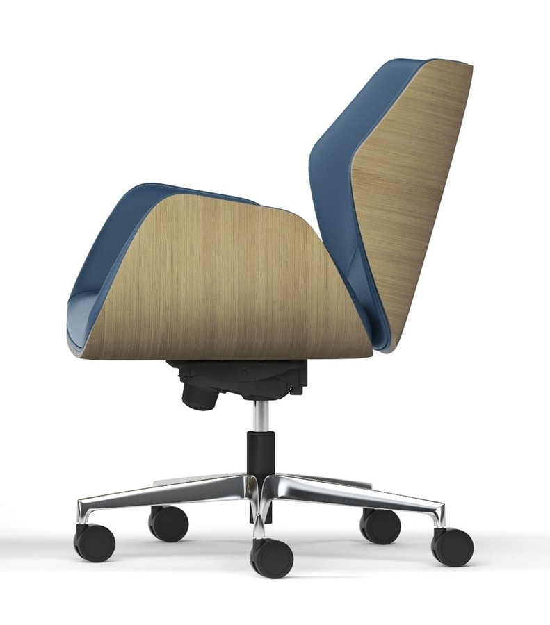 HAIKU WOOD, Chair with wheels with oak shell