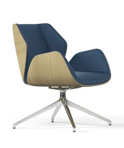 HAIKU WOOD, Swivel armchair with pyramidal aluminum base