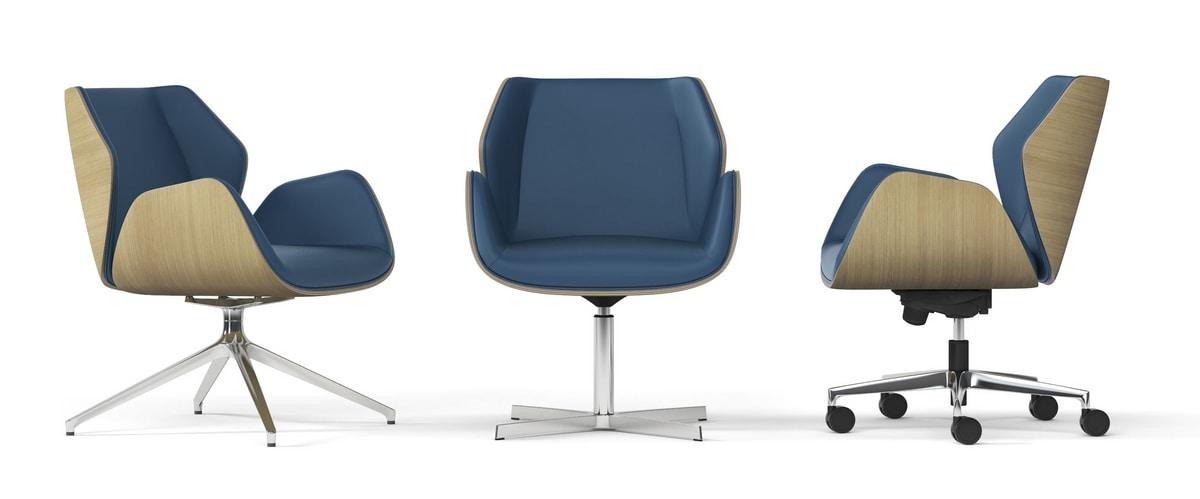 HAIKU WOOD, Swivel armchair with pyramidal aluminum base