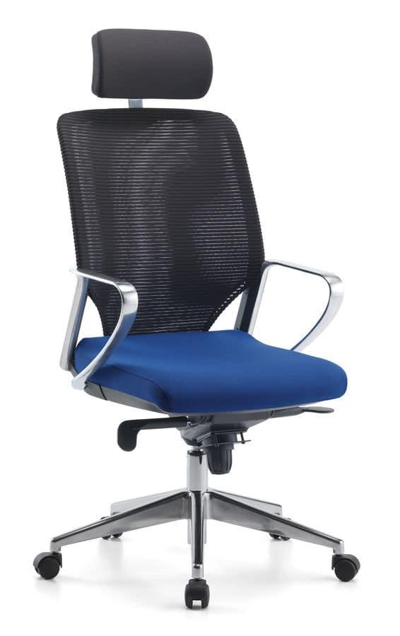 Karina AIR ALU 01 PT, Directional office chair, with headrest