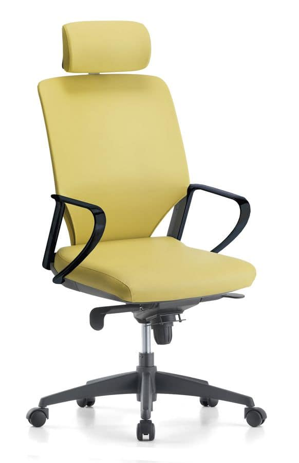 Karina Soft 01 PT, Executive chair with adjustable headrest, for office