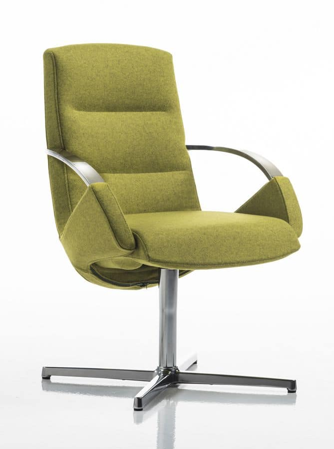 Moon armchair, Elegant office chair, swivel base with 4 races