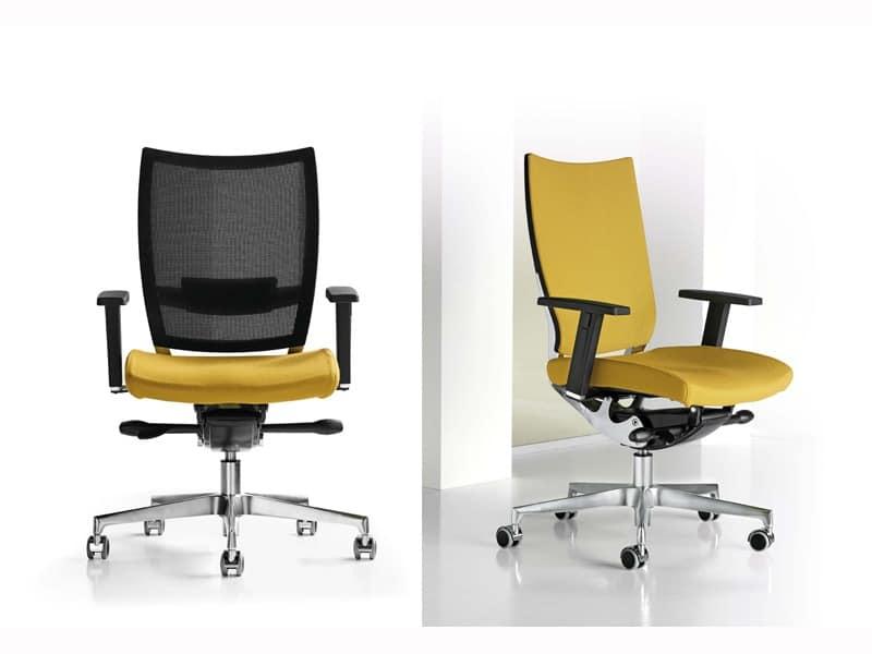 Nest, Adjustable chair, aluminum frame, for professional studio
