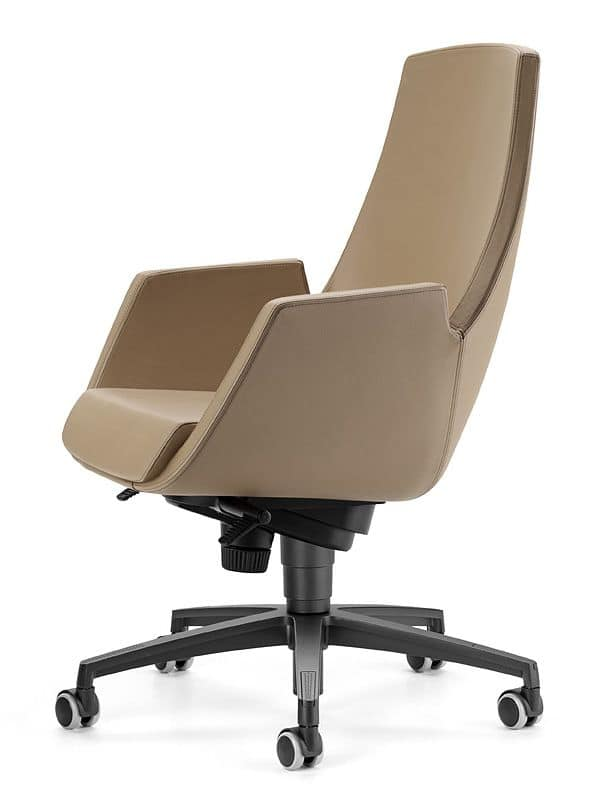 NUBIA 2918, Chair on wheels, reclining high back, for office