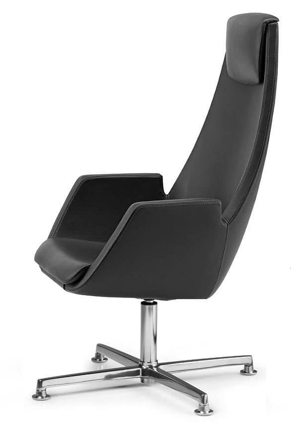 NUBIA 2924, Chair with headrest, dual-line stitching, for office