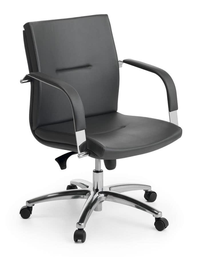 Ottawa 02, Executive chair, polished aluminum base, for office