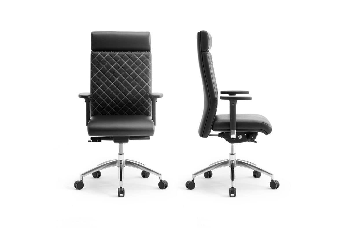 Supremo, Executive chair with metal base and adjustable height