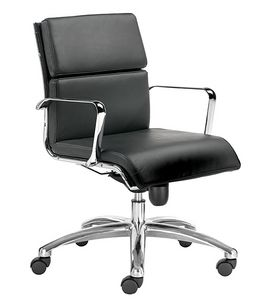 Teknik-C medium, Executive chair with leather cushions, for presidential offices