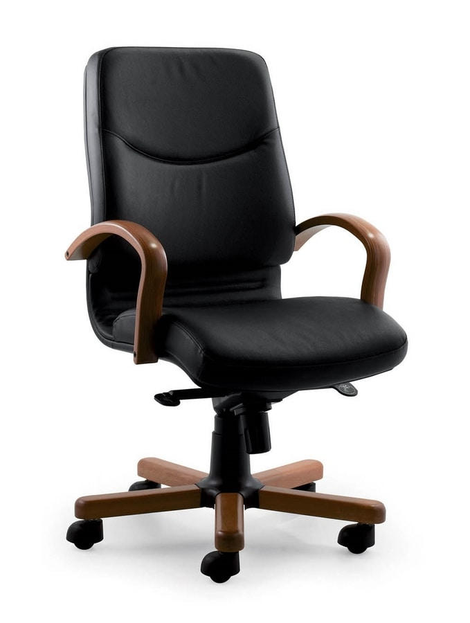 UF 531 B - WOOD, Directional chair with wood frame, upholstered in leather