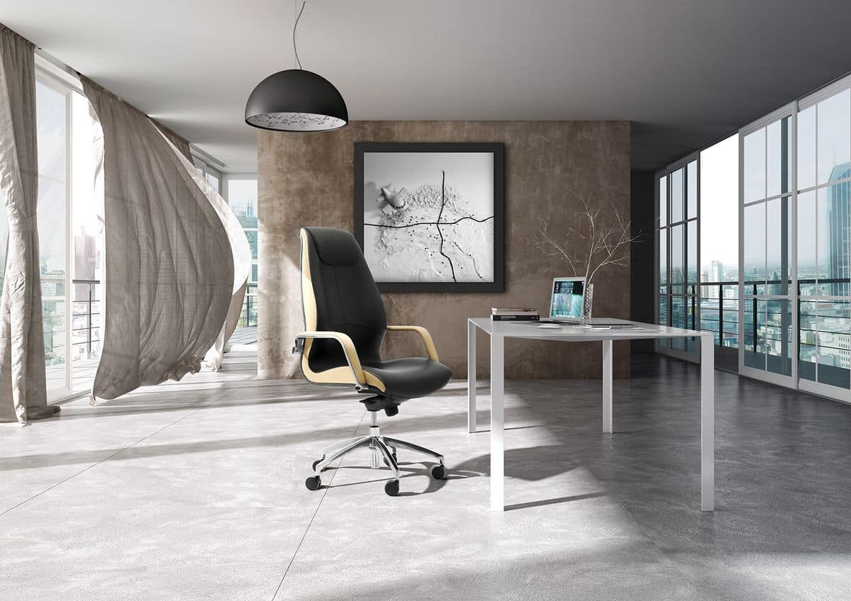 Wave tall executive 1505, Office armchair with upholstered tall backrest