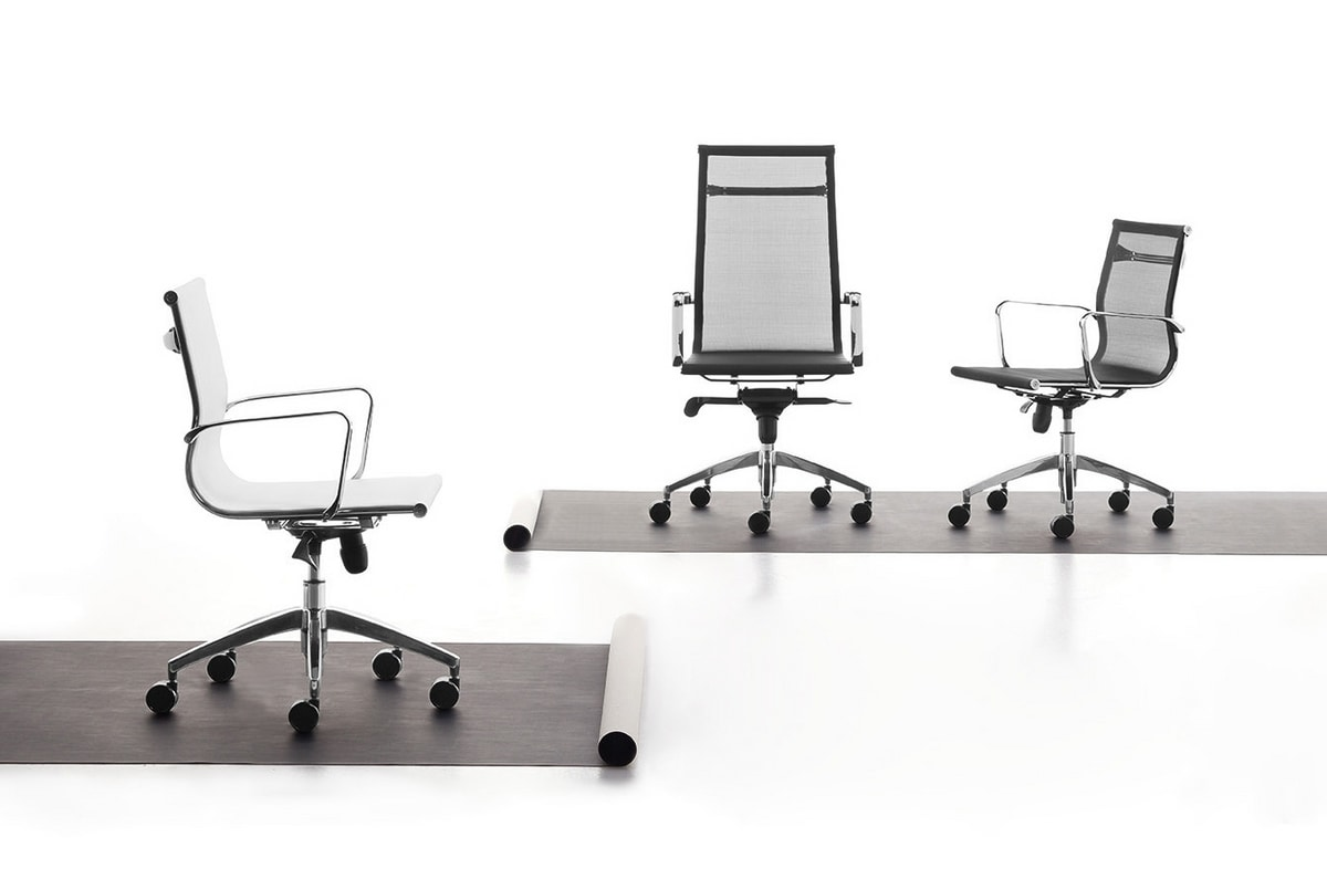 Wind 02, Managerial chair for office on wheels, tilt mechanism