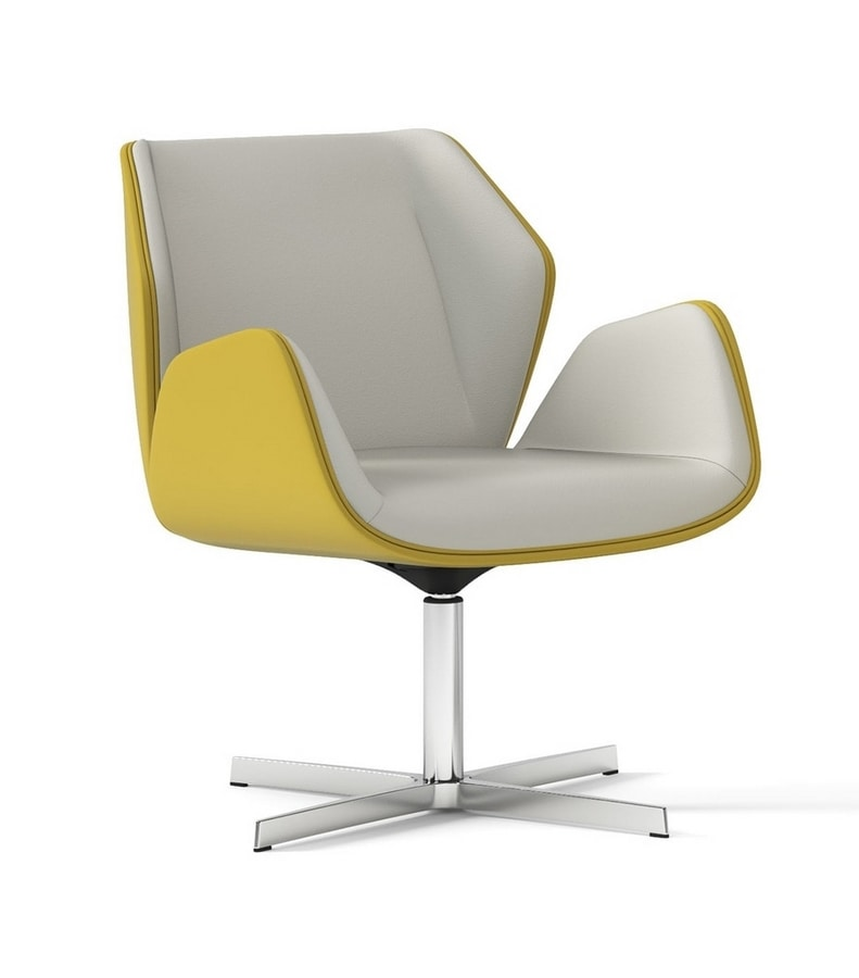 HAIKU, Swivel armchair with 4-spoke aluminum frame