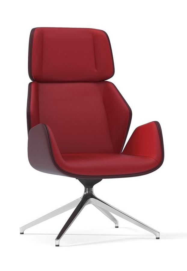 HAIKU, Relaxing swivel armchair with pyramidal base