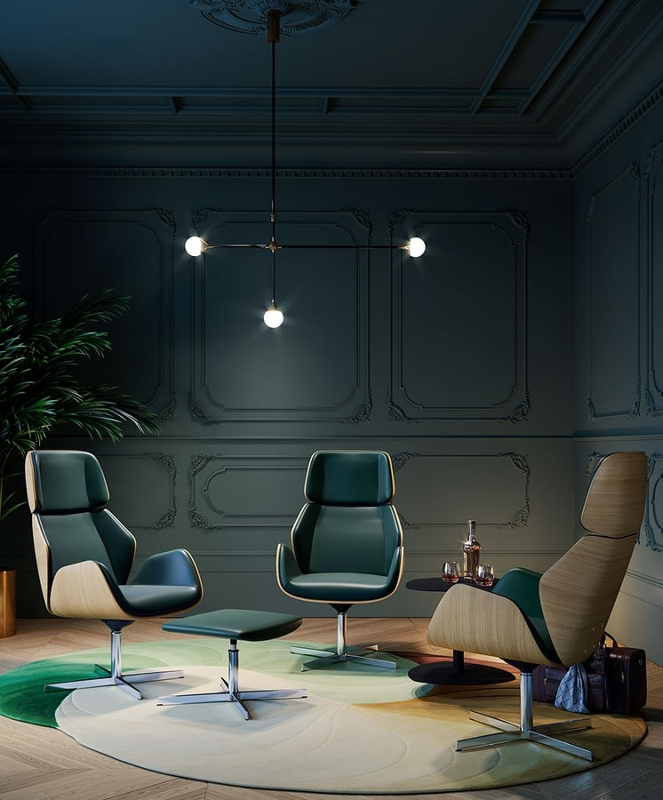 HAIKU WOOD, Relaxing swivel armchair with harmonious movement