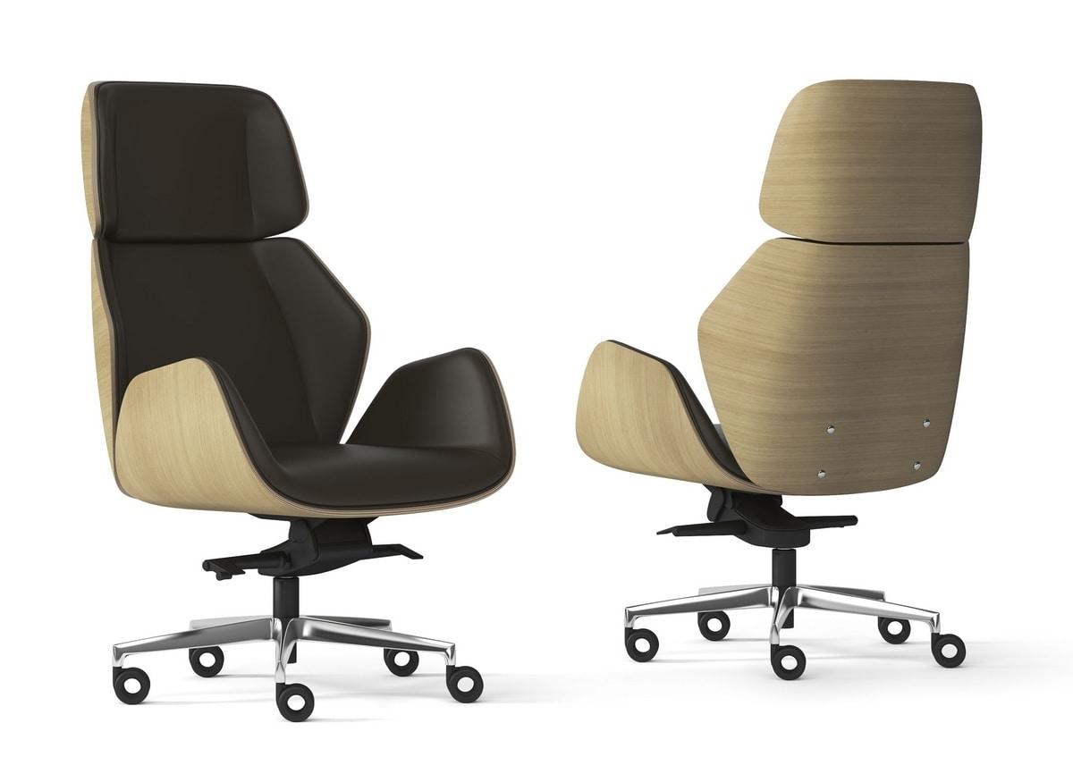 HAIKU WOOD, Executive armchair with oak shell
