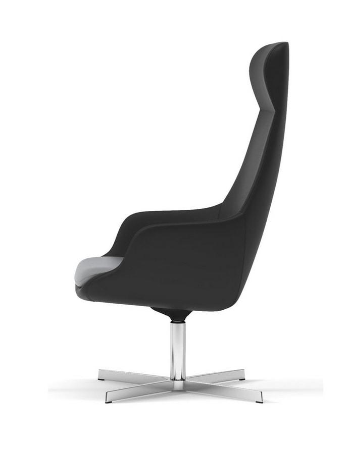 METROPOLITAN, Relax swivel armchair, with harmonious movement