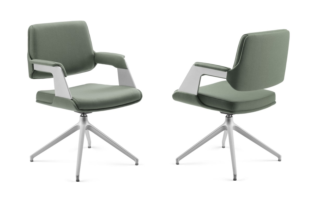 OMNIA, Padded armchair with painted aluminum base, for office