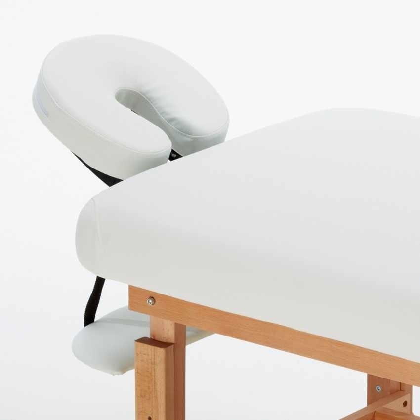 Professional Fixed Wood Massage Table Beautician COMFORT, Massage table with headrest and armrest