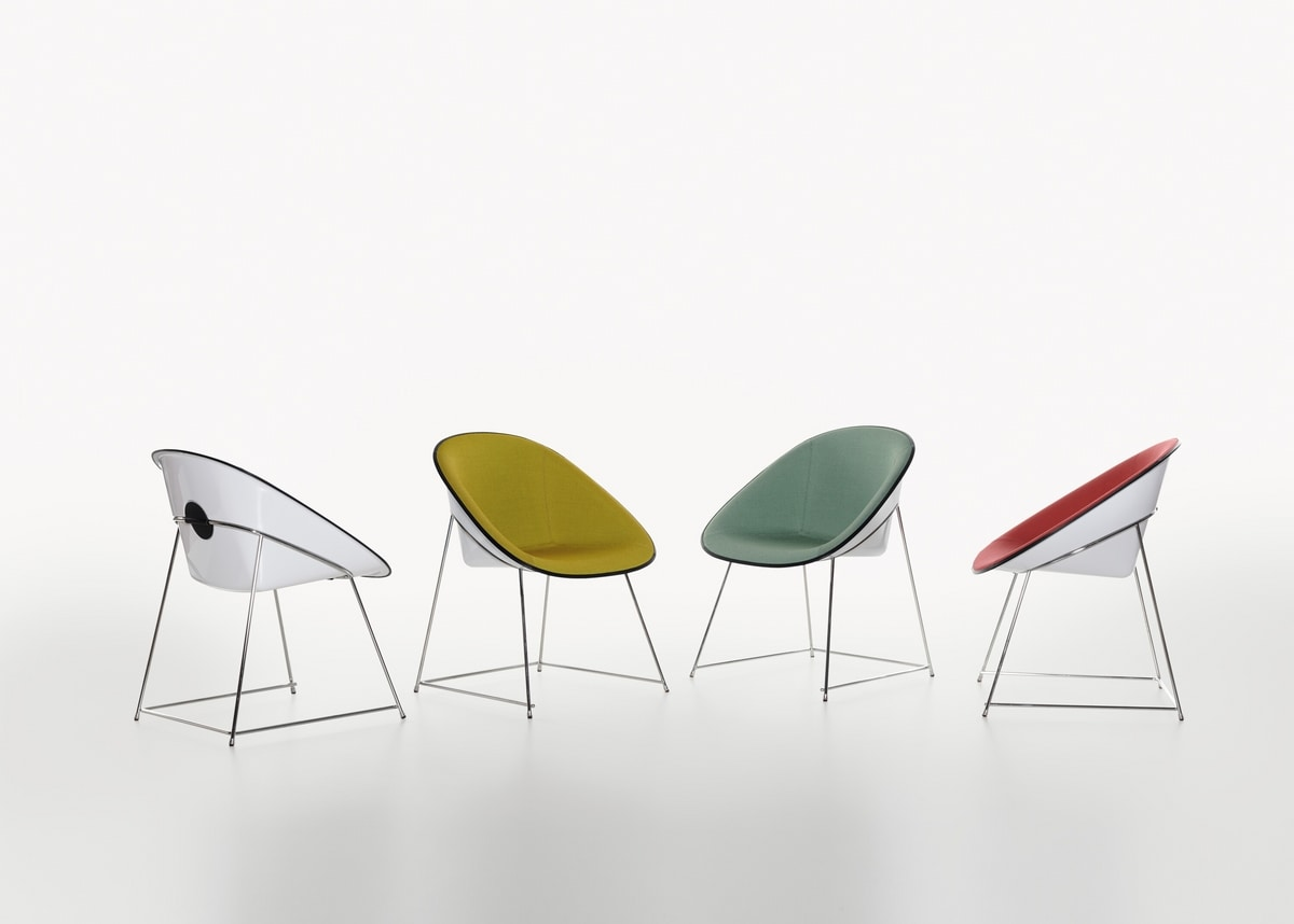 Cup mod. 1950-12, Design chair, with upholstered plastic shell