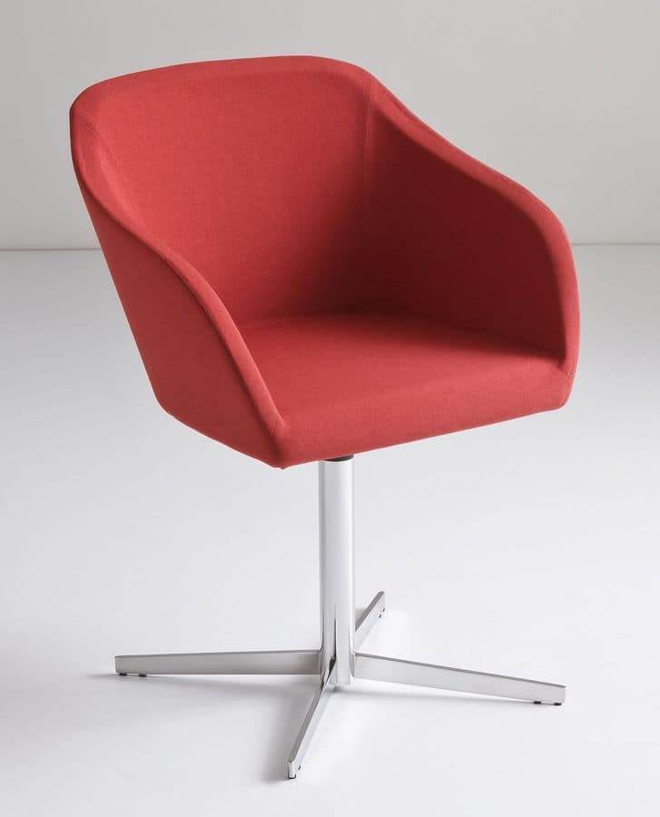 Plaza L, Armchair upholstered in fabric with metal base