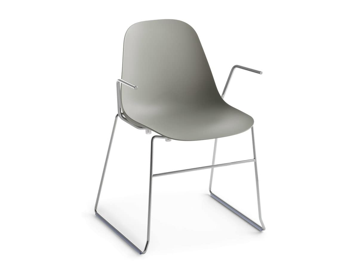 Pola Light P/SB, Plastic armchair with sled base