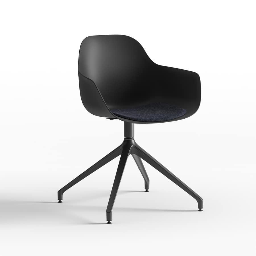 Pola Round P_PB/SU, Small armchair with metal swivel base