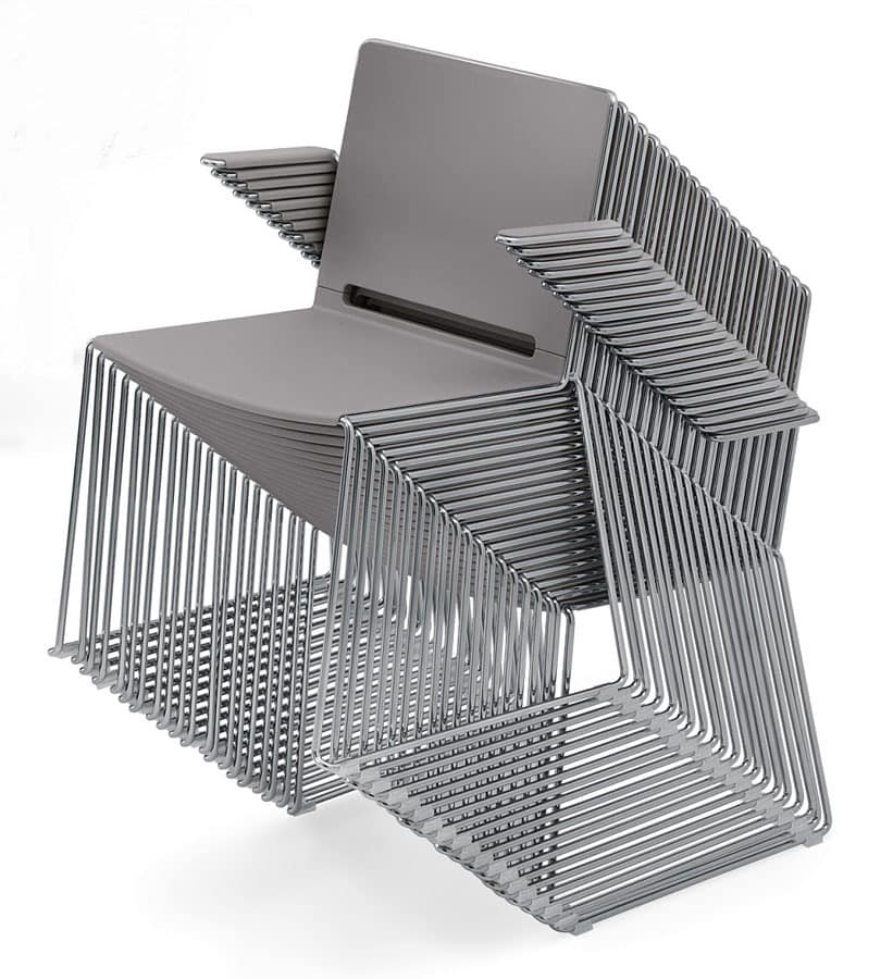 Ron 01 - A, Stackable chair with armrests, sled base in steel