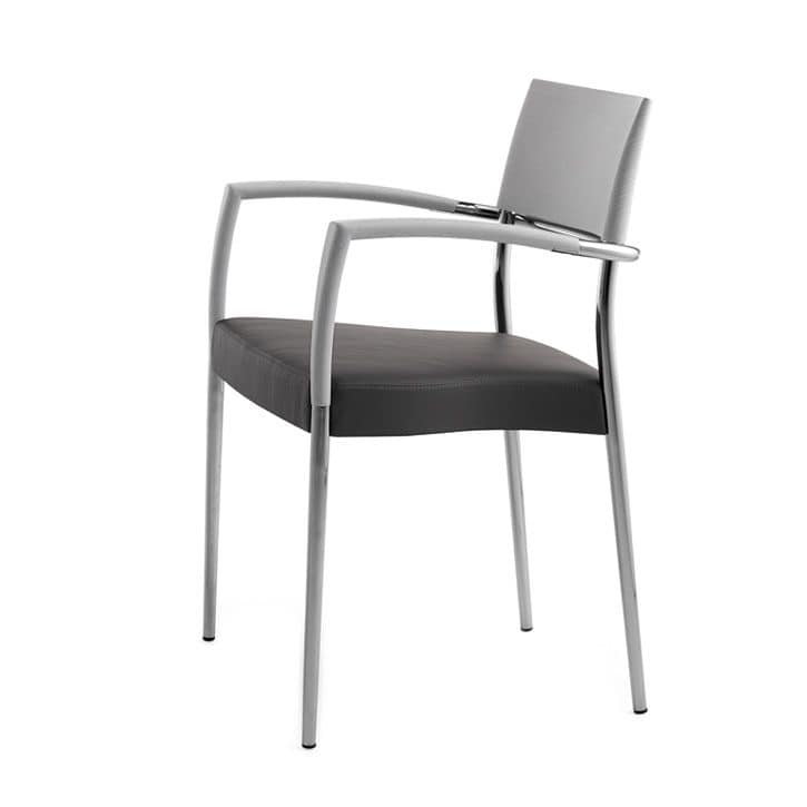 Airon 02021, Stackable armchair with arms with chromed metal frame, back in solid wood, upholstered seat, for contract use
