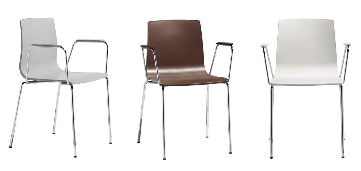 Alice chair with arms, Armchair made of metal and plastic, ergonomic
