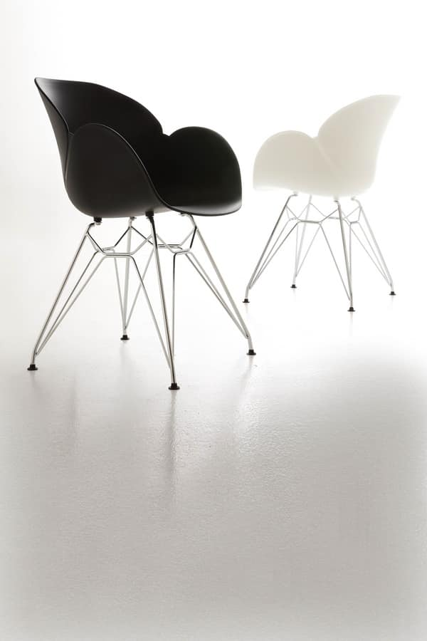 Art. 292 Lotus Metal, Polypropylene and metal armchair, rugged and durable