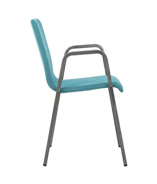 Art.Niù chair with armrests, Metal chair with padded seat and backrest