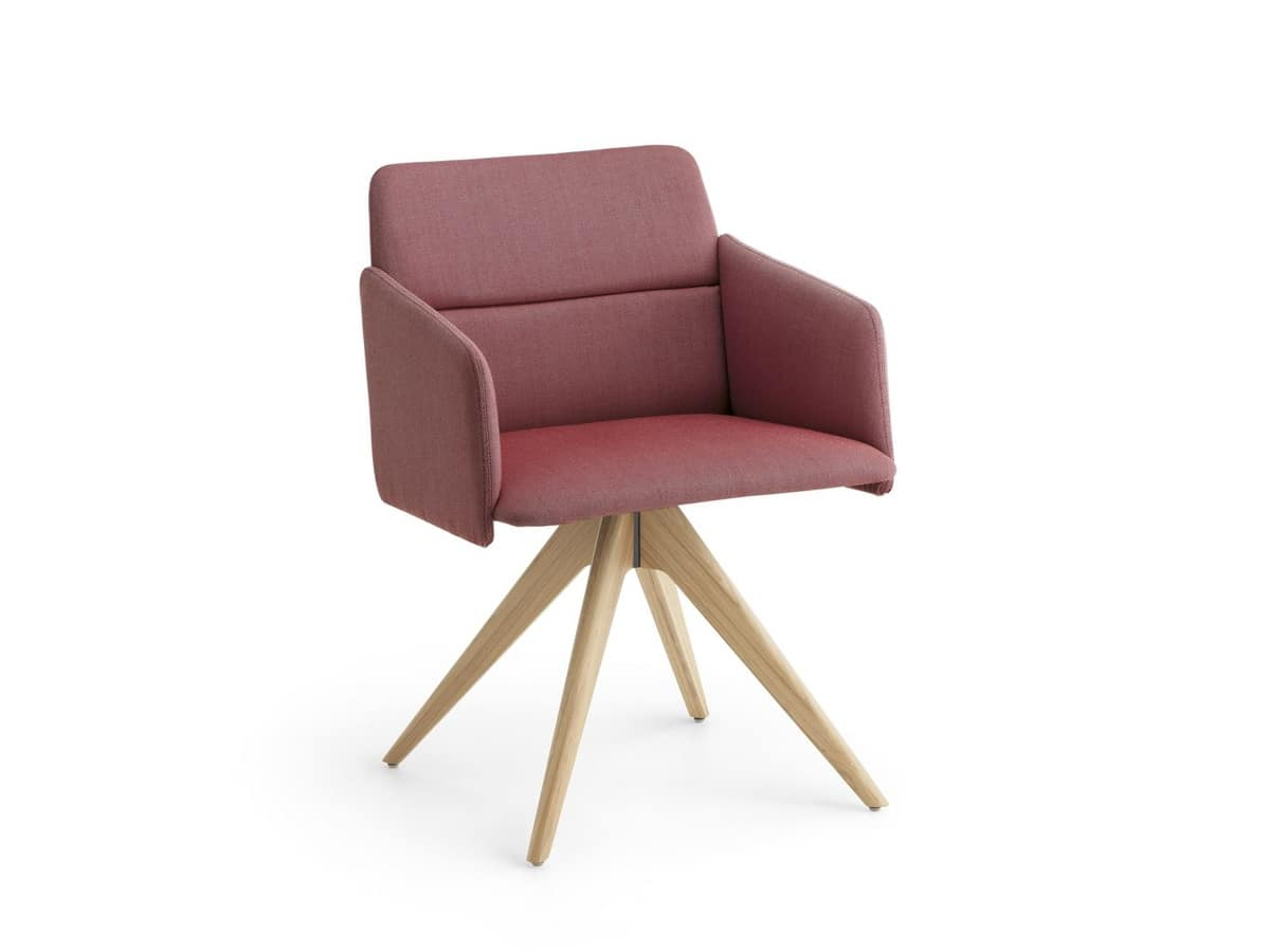 Aura P/PB, Padded armchair on pedestal base