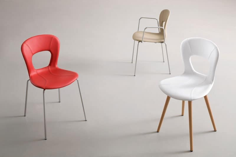 Blog UPH TB, Chair with armrests, seat in leather, metal base