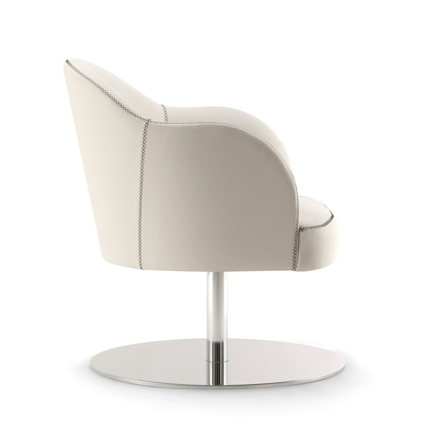 CHICAGO ARMCHAIR 015 P F, Armchair with round metal base