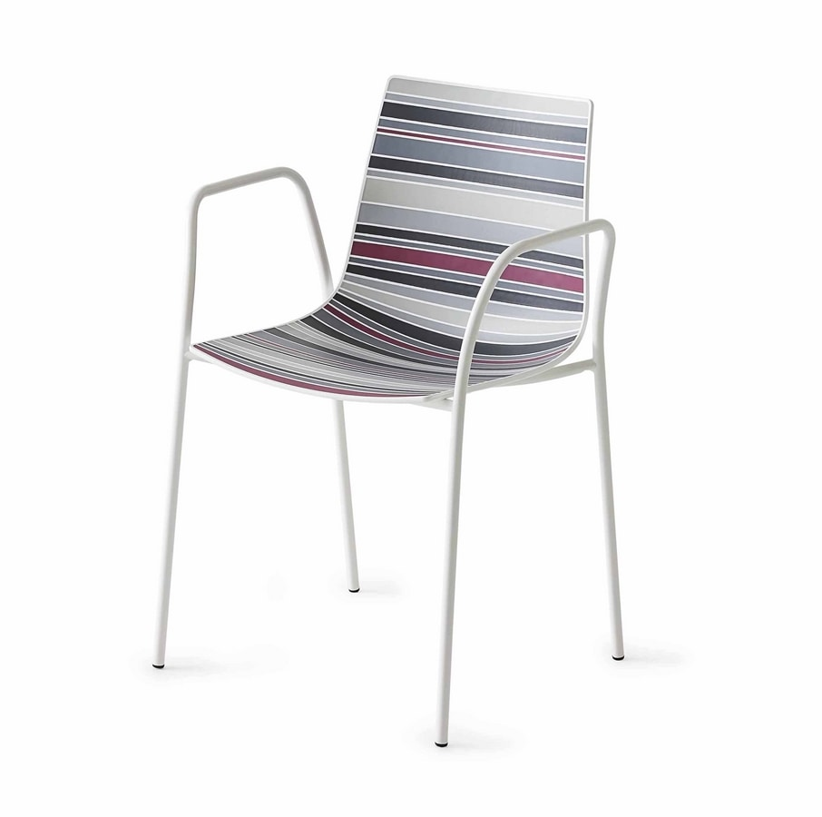 Colorfive TB, Design chair with armrests, chrome metal base