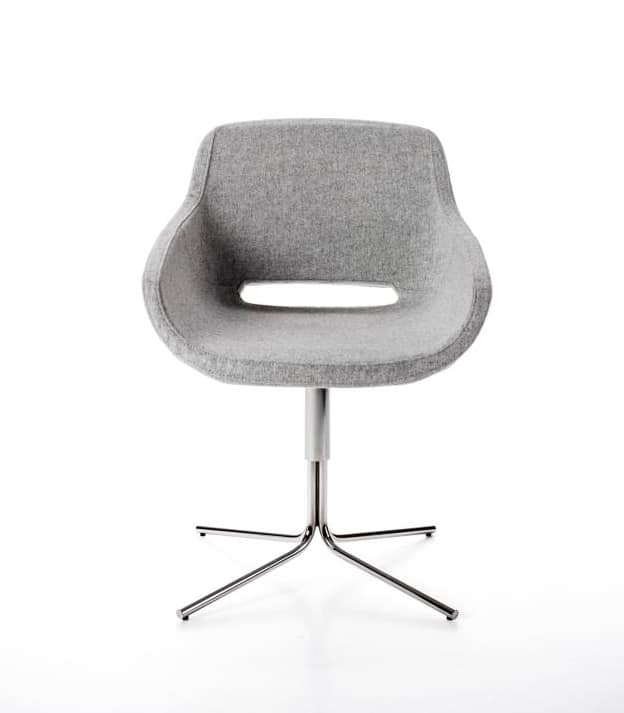 Clea Plus 4 blades, Armchair with swivel base, in aluminum