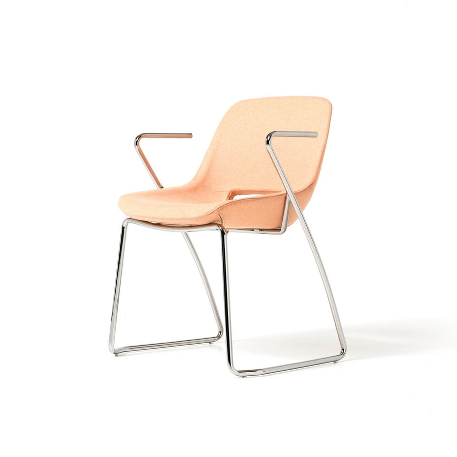 Clea sled base with armrests, Chair with armrests, metal sled base