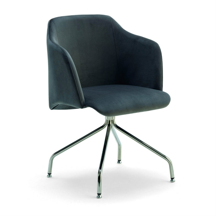 Diva G, Armchair with swivel metal base