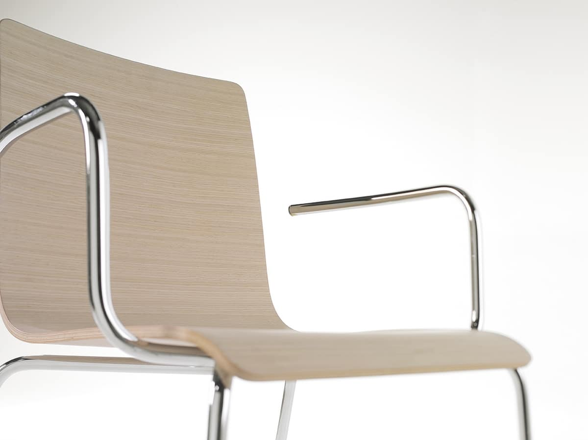 Tesa wood AR, Stackable metal chair, wood veneer shell
