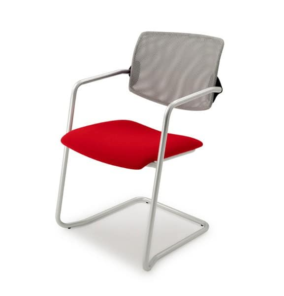 Laila 0587, Stackable chair with backrest in mesh, for office