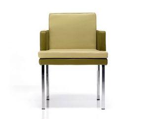 Marta, Modern armchair, in leather