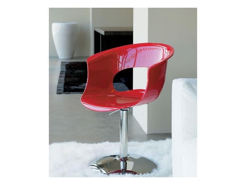 Miss b up, Swivel chair, chromed steel base, acrylic shell
