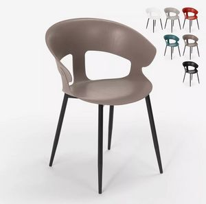 Modern design chair in polypropylene and metal for kitchen caf�s restaurant Evelyn SC782, Chair in metal and polypropylene
