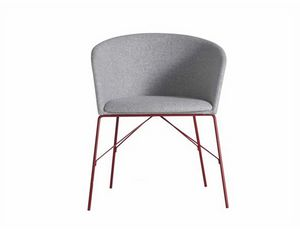 Moon Light 663TNS, Armchair in metal, with upholstered shell