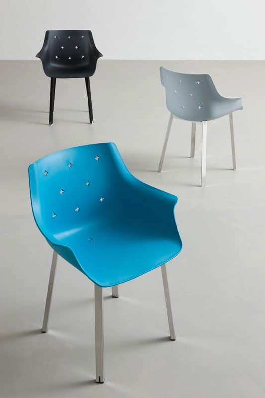 More NA, Chair with armrests, chromed metal base, for Outdoor side