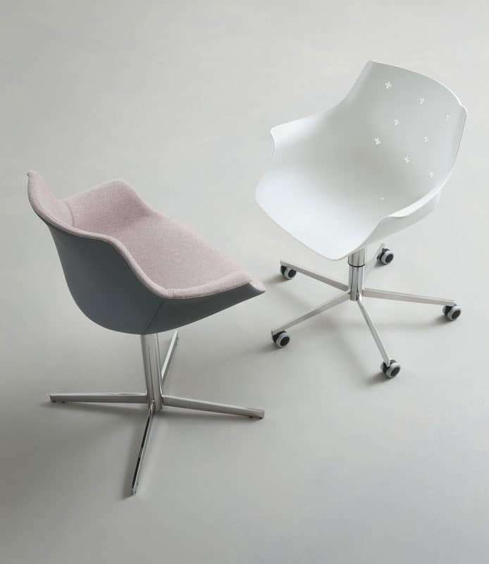 More UPH L, Armchair with metal base, seat covered with fabric