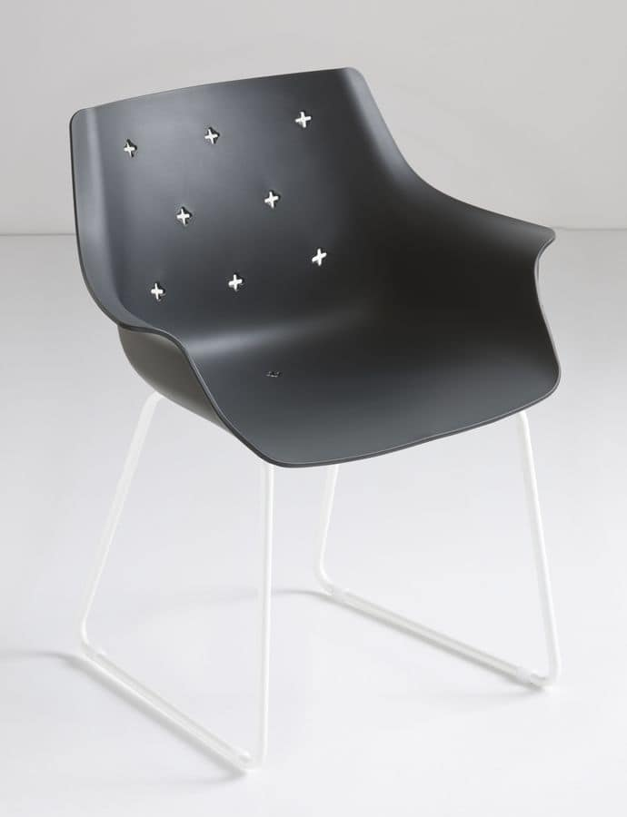 More ST, Armchair with sled base, in metal and polymer