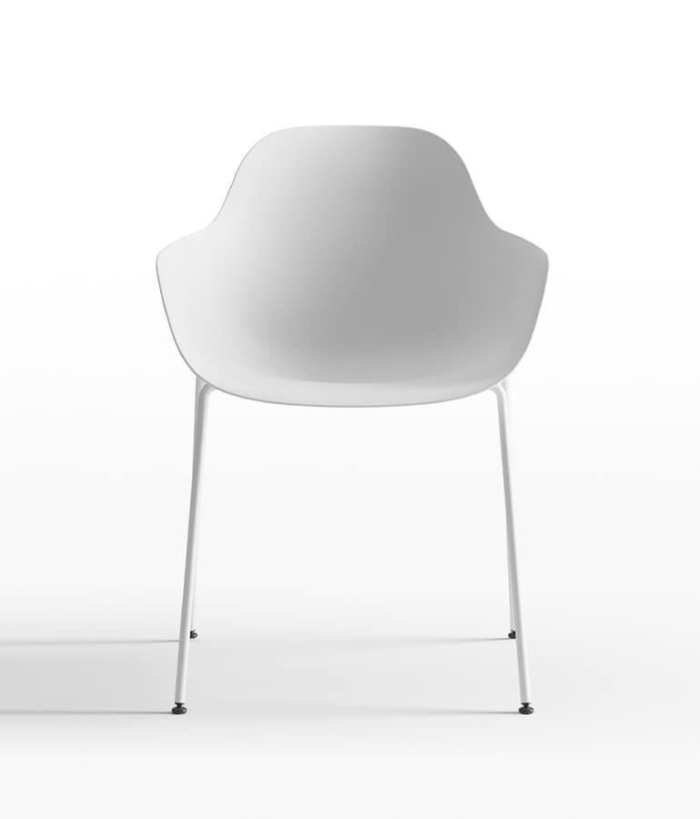 Pola Round P_SB, Polypropylene and metal small armchair